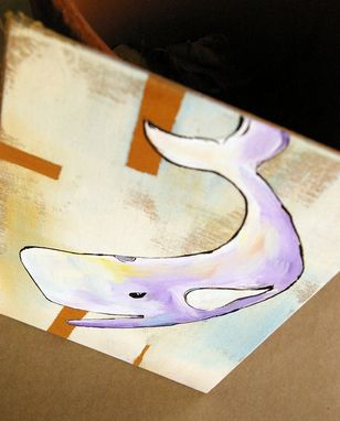 Custom Made Happy Whale - Violet And White Whale With Yellow Accents