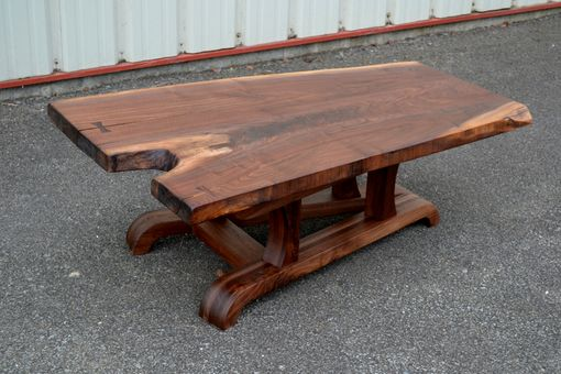 Custom Made Live Edge Walnut Coffee Table With Tapered Base