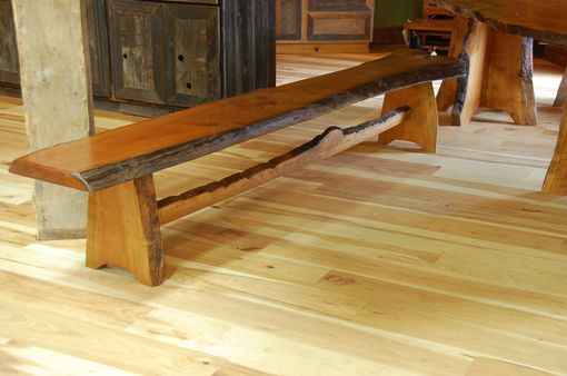 Custom Made Cherry Bench With Live Edge Trestle Base