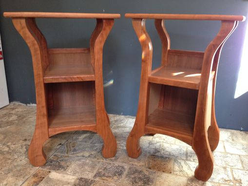 Custom Made Tall And Shapely Twins; Cherry Bedside Tables