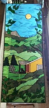 "Custom Made Stained Glass Window - ""The House In The Forest"" (W-45)"