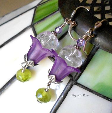 Custom Made Sold Out Earrings Purple Flowers, Green Czech Glass, Antique Sterling Silver For Springtime
