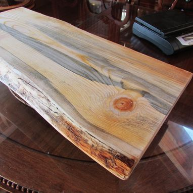 Custom Made Huge Serving Tray, Or Plant Stand Beautiful Blue Streaked Pine!! Live Edge!
