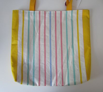 Custom Made Upcycled Tote Bag Made From A Vintage Striped Kitchen Towel