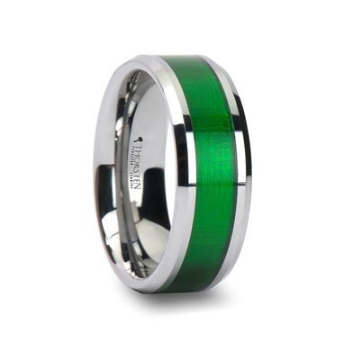 Custom Made Vardon Tungsten Carbide Ring With Textured Green Inlay - 8mm
