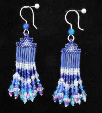 Custom Made Beaded Earrings, Fine Jewelry Blue And Violet Dangling, With Swarovski Crystals