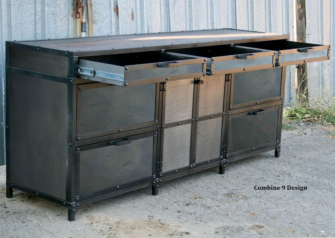 Buy a Hand Made Vintage Industrial File Cabinet. Mid Century Modern. Steel  And Reclaimed Wood. Filing., made to order from Combine 9 | CustomMade.com - Buy A Hand Made Vintage Industrial File Cabinet. Mid Century Modern