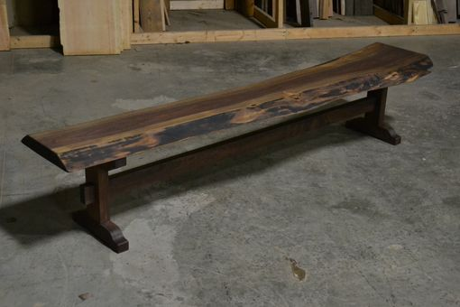 Custom Made Live Edge Walnut Bench With Trestle Base