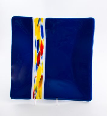 Custom Made Cobalt Blue Fused Glass Dinnerware Set, Square Plates