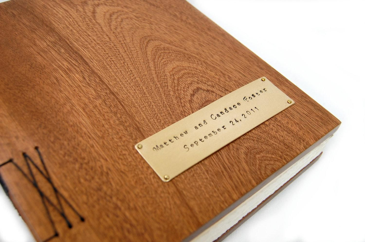 Wood Cover Cookbook : Handmade mahogany guest book with wood covers custom