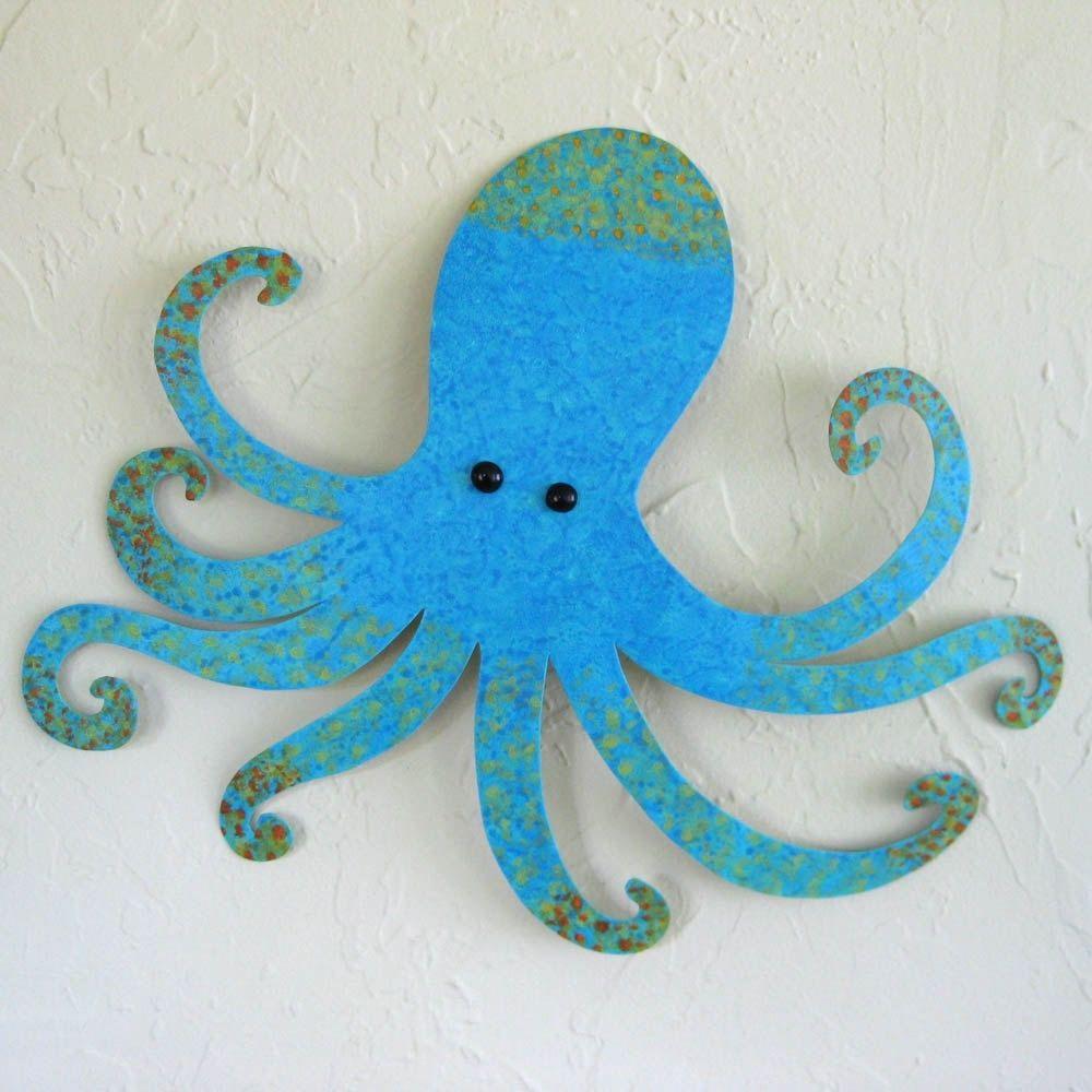 custom handmade upcycled metal blue octopus wall art sculpture by frivolous tendencies. Black Bedroom Furniture Sets. Home Design Ideas