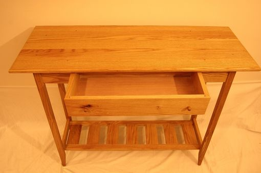 Custom Made Shaker Oak Sofa Table/ Hall Table With Drawer And Shelf