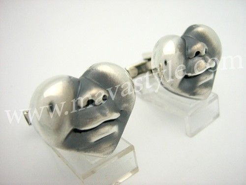Custom Made Sterling Silver Happy Heart Face Cufflinks