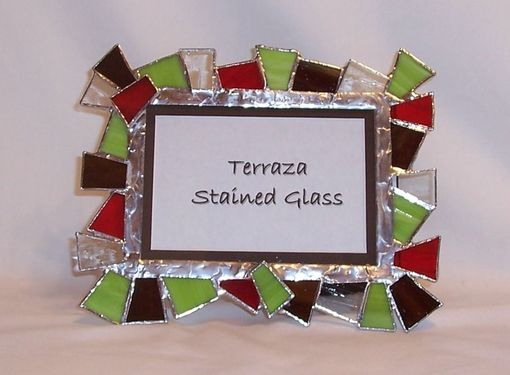 Custom Made Chunky Stained Glass Picture Frame - Candy Apple (F-1)