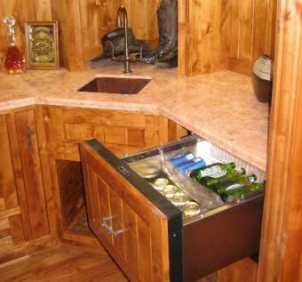 Custom Made Knotty Alder Kitchen Cabinets - Solid Wood Construction.