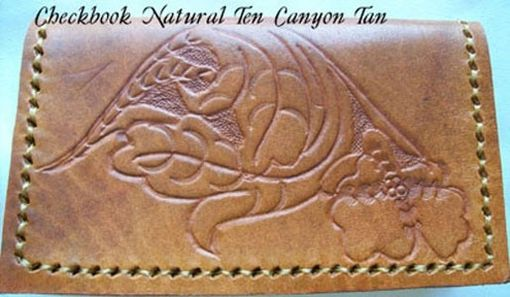 Custom Made Custom Leather Checkbook Cover With Natural 10 Design And In Canyon Tan