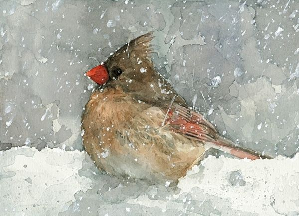 Hand Made Cardinal In Snow Bird Watercolor Painting By