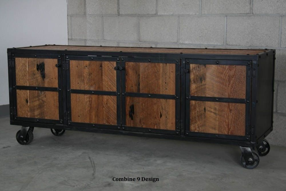 buy a hand crafted urban vintage industrial media console credenza rustic reclaimed wood made. Black Bedroom Furniture Sets. Home Design Ideas