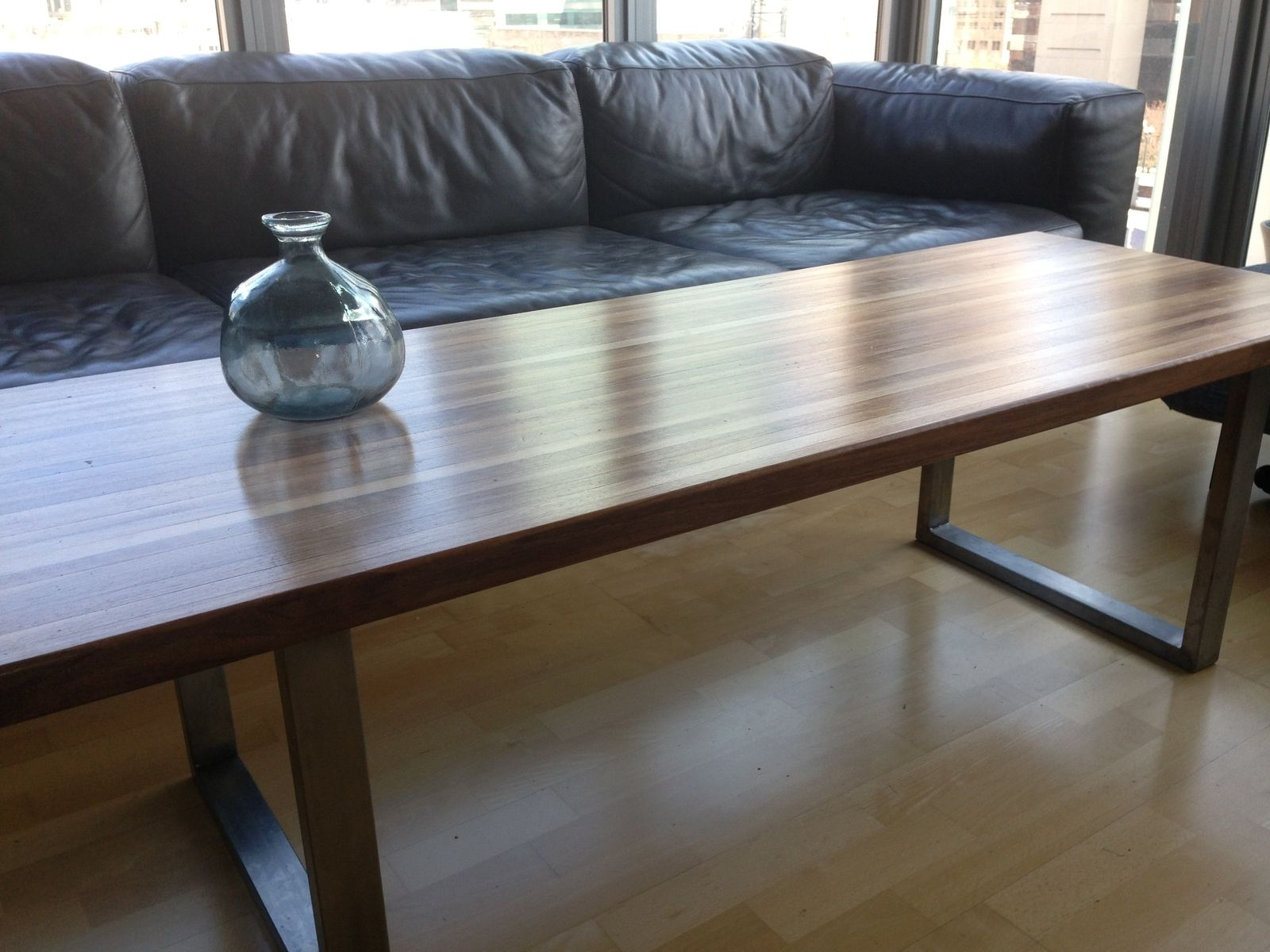 Custom Made Walnut & Stainless Steel Butcher s Block Coffee Table