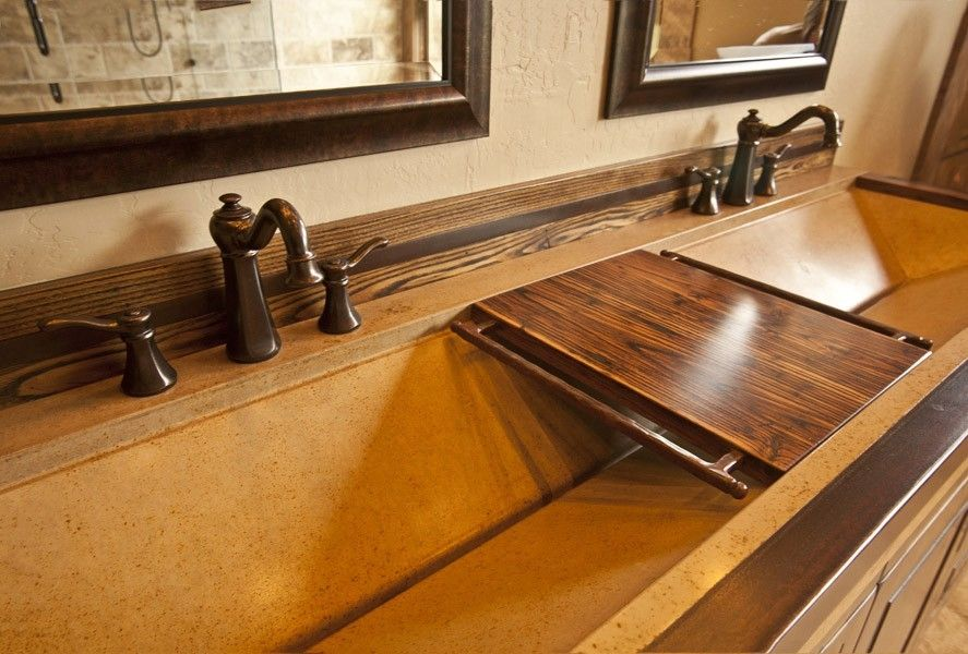 Hand Crafted Long Concrete Sink Aztec Sink By Elements