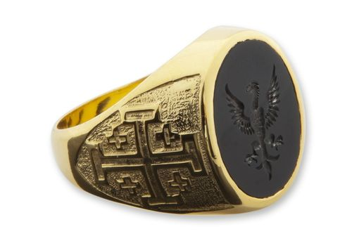 Custom Made Men's  Engraved Black Onyx Crest Ring