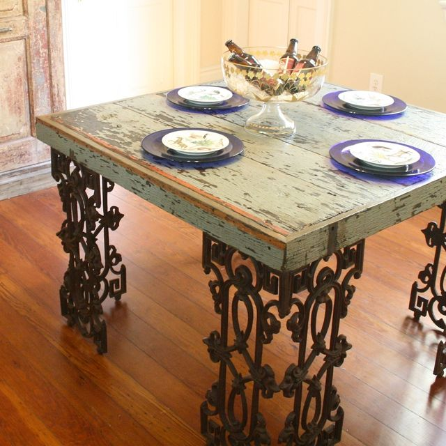 Hand Made New Orleans Dining Room Table From Distressed Wood And Wrought Iron By Doorman Designs