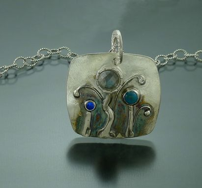 Custom Made Multi Gemstone And Fine Silver Pendant Necklace
