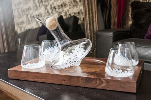 Custom Made White Speckle J.R. Revolving Wine Decanter & Glasses