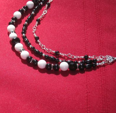 Custom Made Black Onyx And White Agate Silver Triple Necklace-Free Shipping