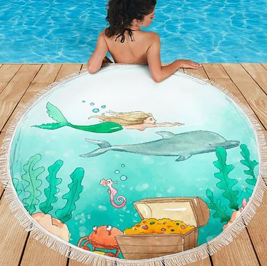 Custom Made Summer Beach Towel Vacation Pool Beach Blanket Mermaid Dolphin Ocean Sea Treasure