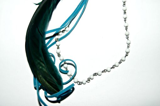 Custom Made Ooak Clip - Aqua Color - Feathers, Leather, Danglers - Perfect For The Young At Heart
