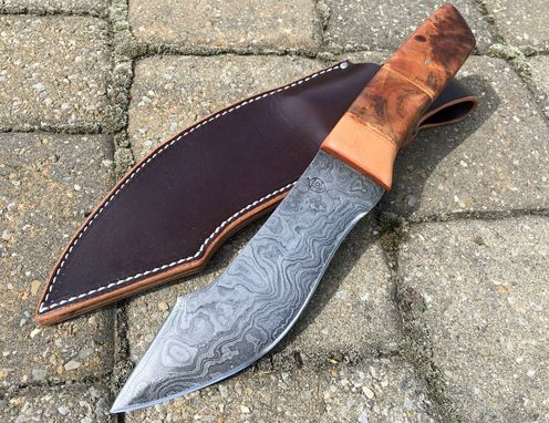 Custom Made Fixed Blade Knife W/ Damascus Blade, Stabilized Wood Or Antler Handle And Amish Made Leather Sheath