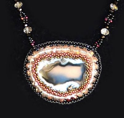 Custom Made Bead Embroidered Agate Geode Necklace And Pendant