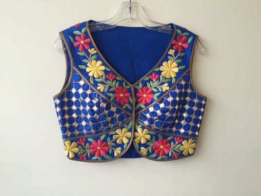 Custom Made Blue Silk Jacket With Mirror ,Thread  Hand Embroidery