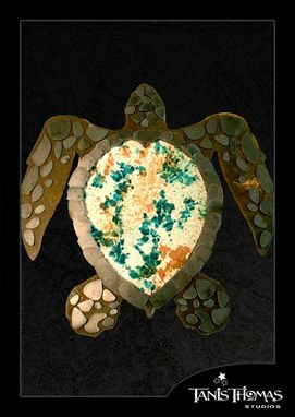 Custom Made Steel Sea Turtle With Stained Concrete Shell