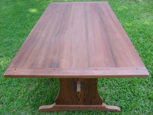 Custom Made Reclaimed Redwood Trestle Table