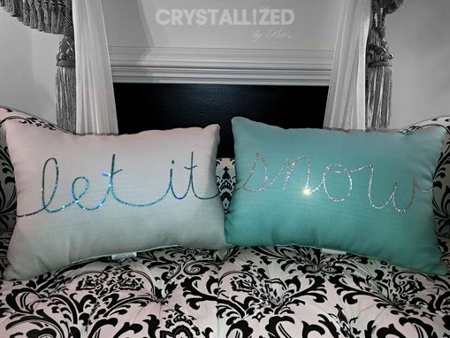 Custom Made Custom Crystallized Throw Pillow Home Decor Bedroom Living Room Bling Swarovski Crystals Bedazzled