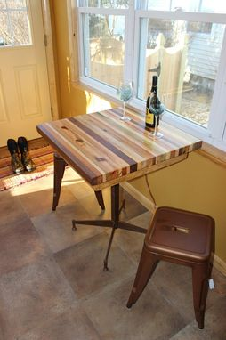Custom Made Butcher Block Kitchen Table With Metal Base