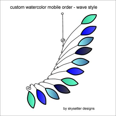 Custom Made Custom Wire Mobile Sculpture - Custom Color Deposit Cool Blues Wave Art Mobile