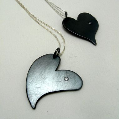 Custom Made Sterling Silver Heart Pendant With Single Set Cubic Zirconia Oxidized By Cristina Hurley