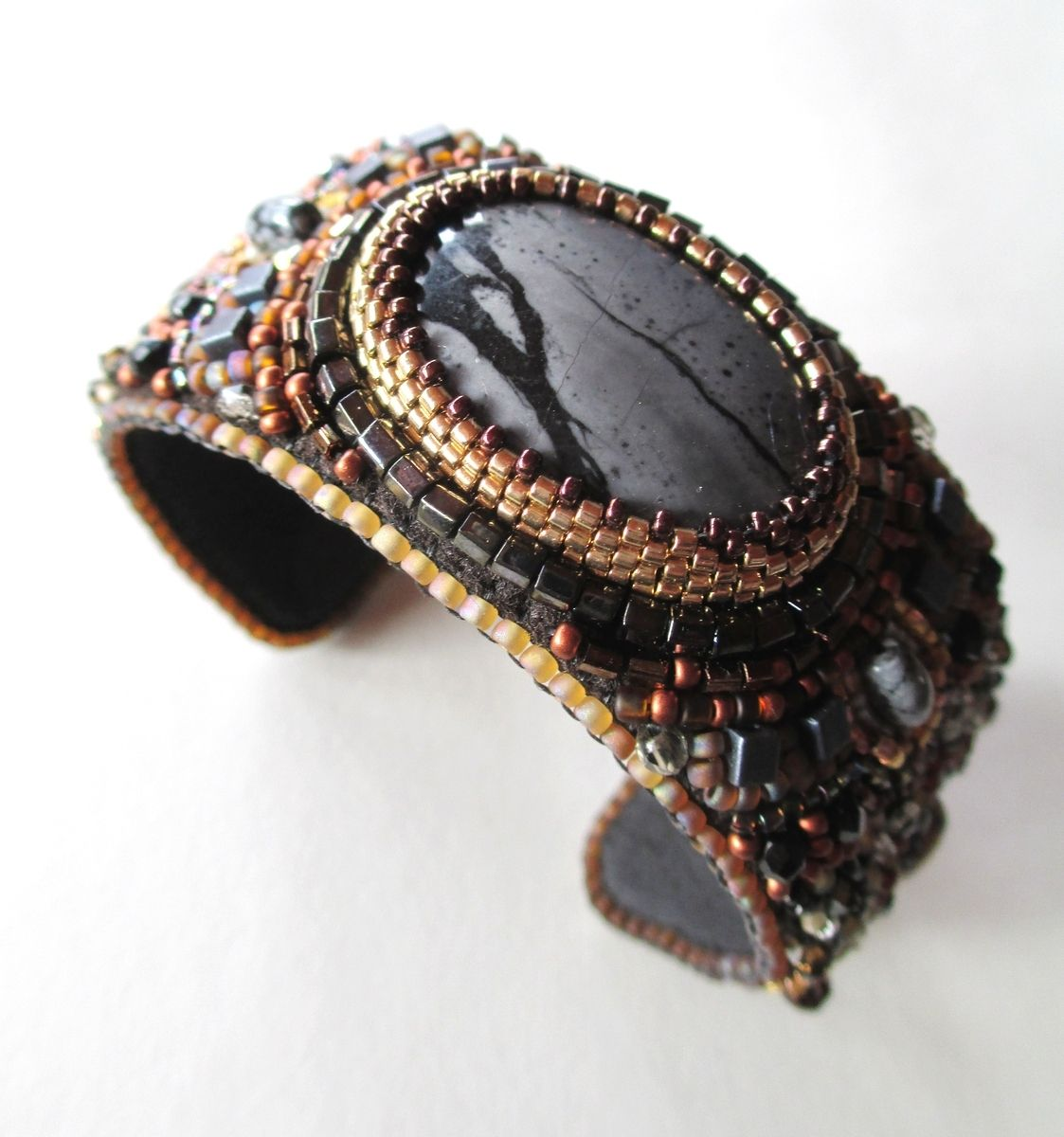 Custom Made Beaded Cuff Bracelet With Semi Precious Stone
