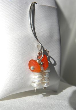 Custom Made Pearls And Sea Glass Dangle Earrings