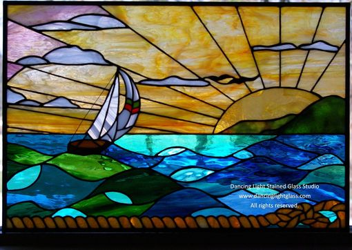 Custom Made Stained Glass Ocean Scene By Dancing Light