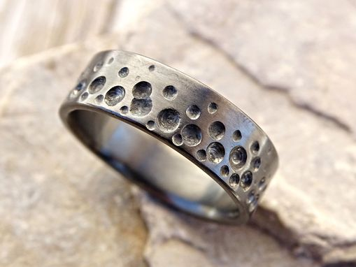 Custom Made Ocean Wedding Ring Beach, Mens Promise Ring Black Silver, Mens Wedding Band