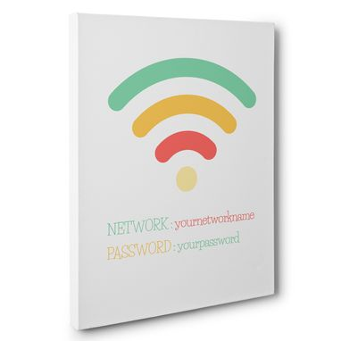 Custom Made Colorful Wifi Sign Password Canvas Wall Art