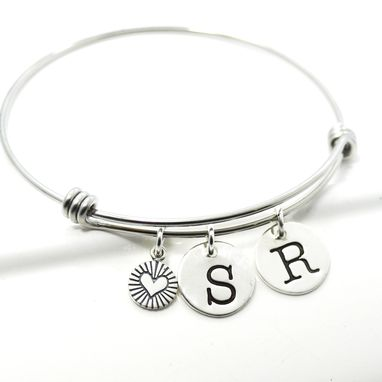 Custom Made Initial Bangle Charm Bracelet | Couples Initial Bangle | Mothers Bracelet
