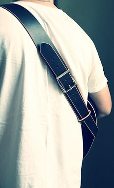 Custom Made Black Bridle Leather Guitar Strap