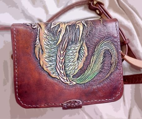 Custom Made Hand Tooled, Hand Carved, Vegetable Tanned Leather Terrible Dragon Bag