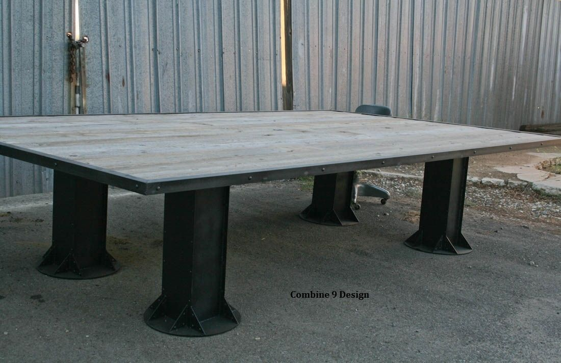 Buy Hand Made Vintage Industrial Conference Table Reclaimed Wood - Mid century conference table