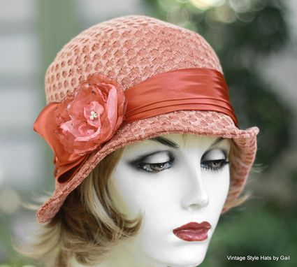 Custom Made Vintage 1920'S Cloche Hat Vintage Style In Perfectly Peach